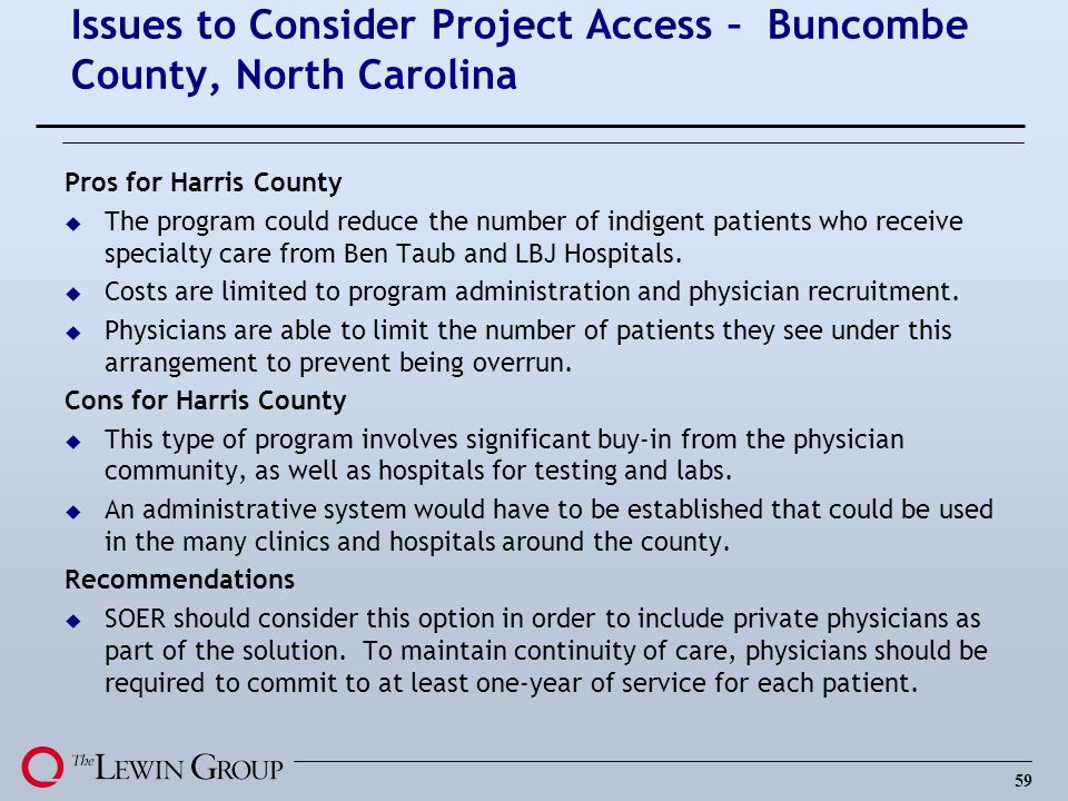 Issues to Consider Project Access – Buncombe County, North Carolina