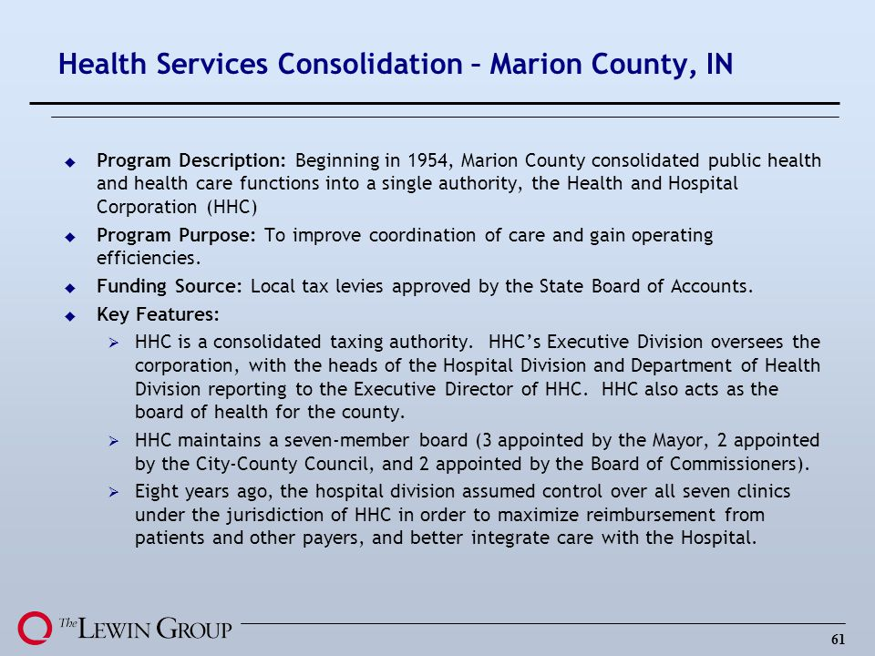 Health Services Consolidation – Marion County, IN