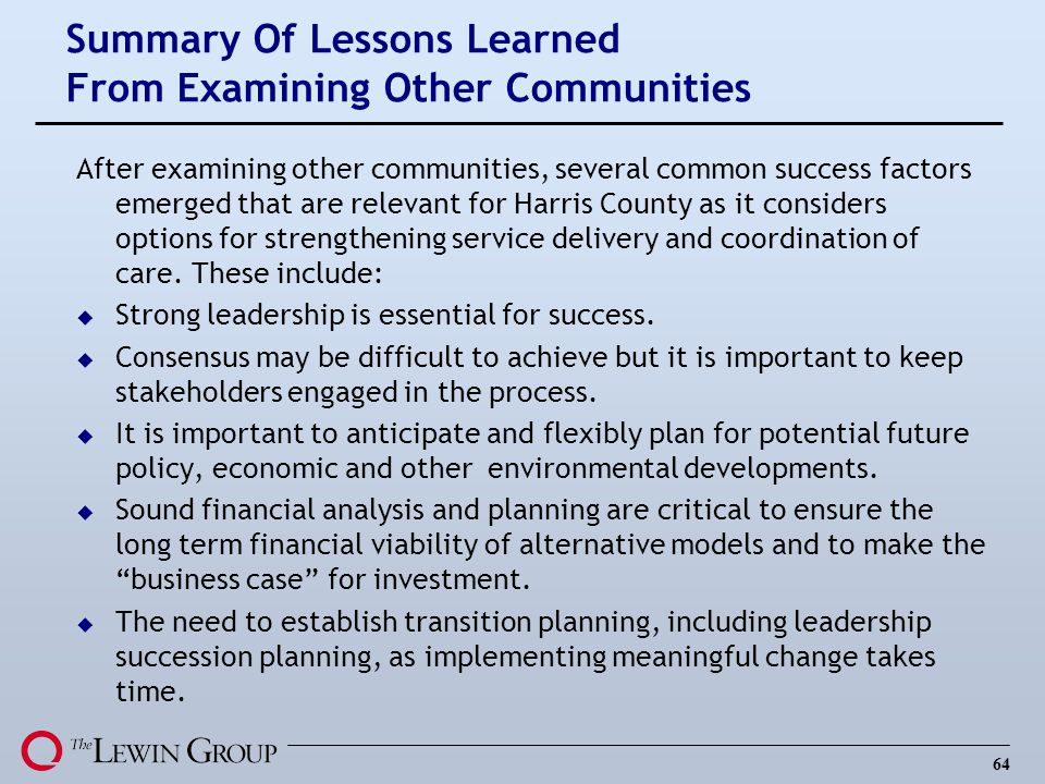Summary Of Lessons Learned From Examining Other Communities