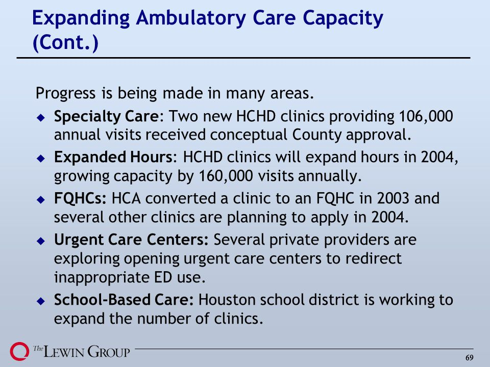Expanding Ambulatory Care Capacity (Cont.)