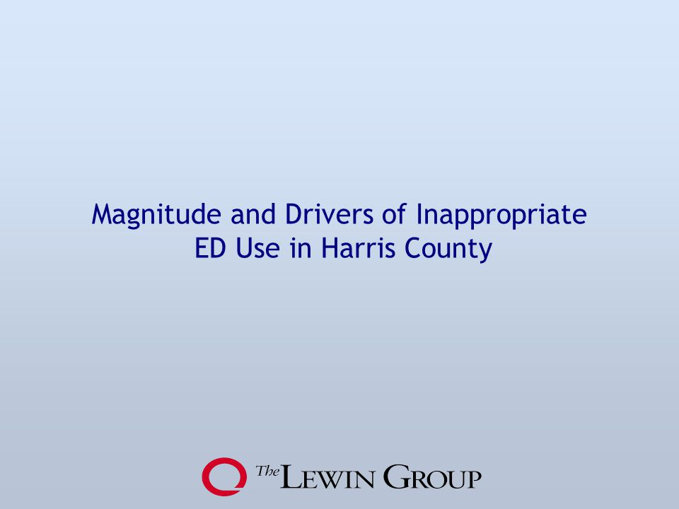Magnitude and Drivers of Inappropriate ED Use in Harris County