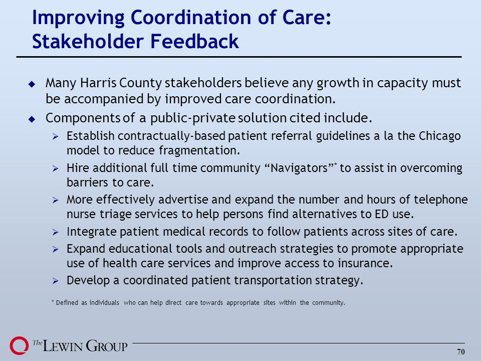 Improving Coordination of Care: Stakeholder Feedback