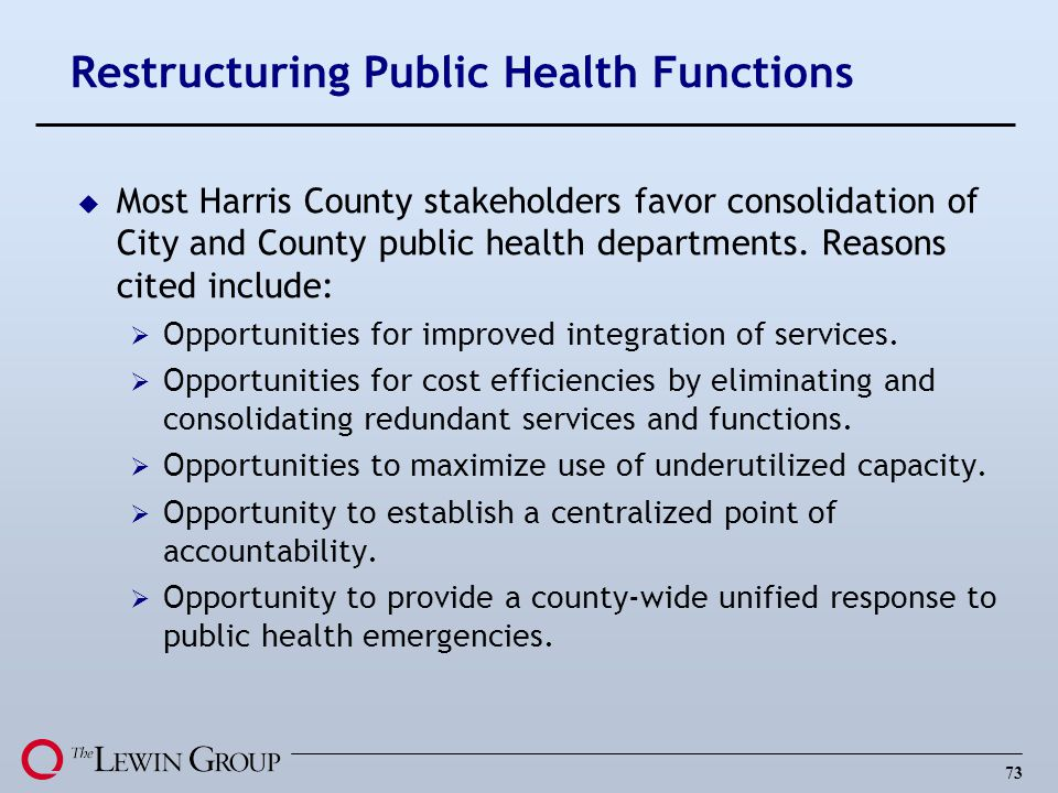 Restructuring Public Health Functions