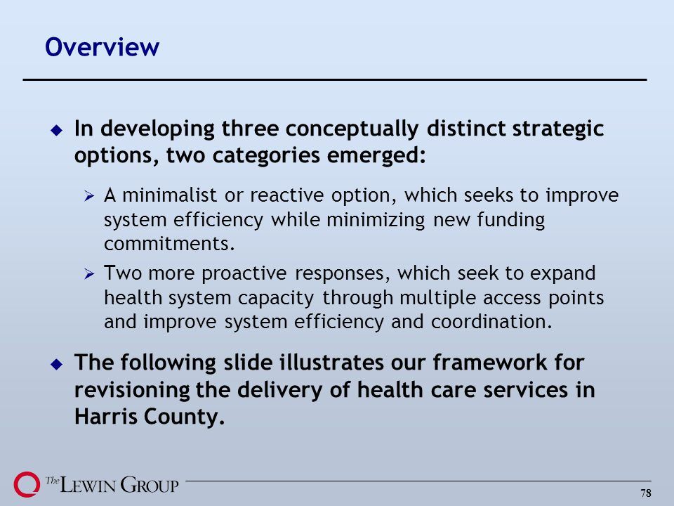 Overview In developing three conceptually distinct strategic options, two categories emerged: