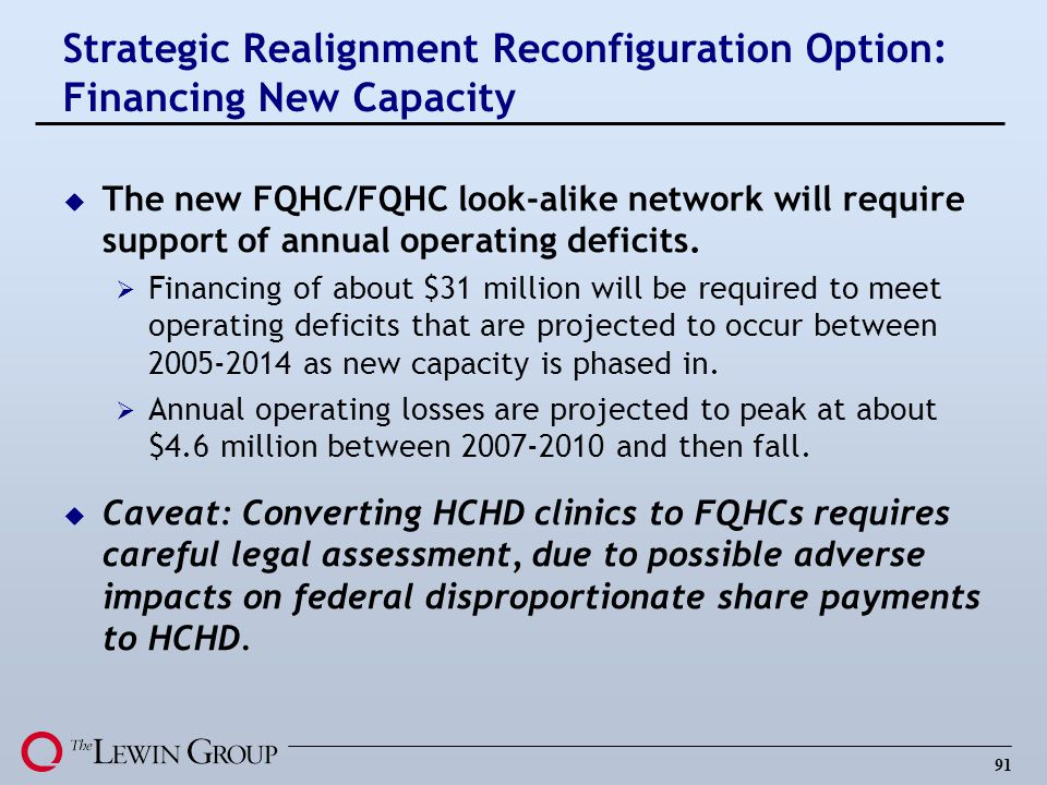 Strategic Realignment Reconfiguration Option: Financing New Capacity