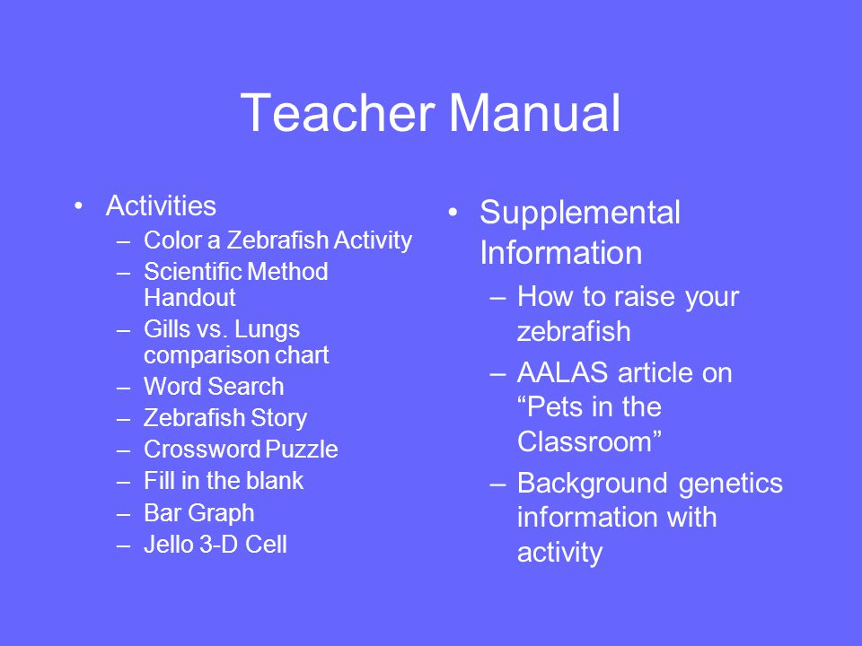 Teacher Manual Supplemental Information Activities
