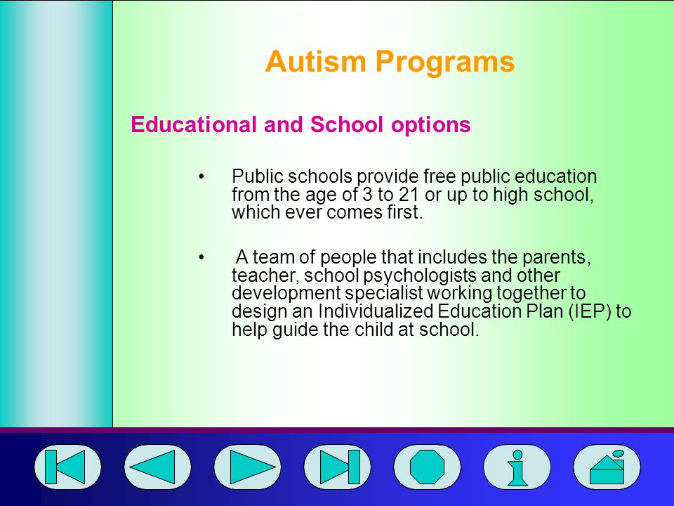 Autism Programs Educational and School options