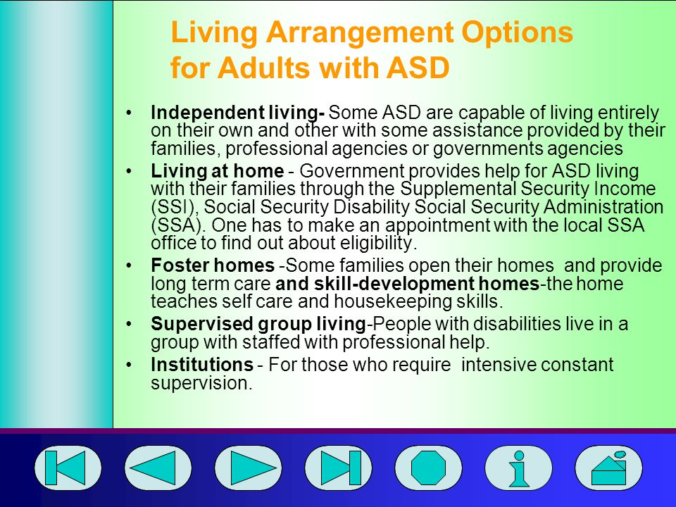 Living Arrangement Options for Adults with ASD