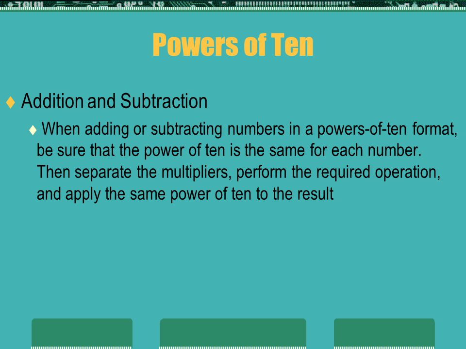 Powers of Ten Addition and Subtraction