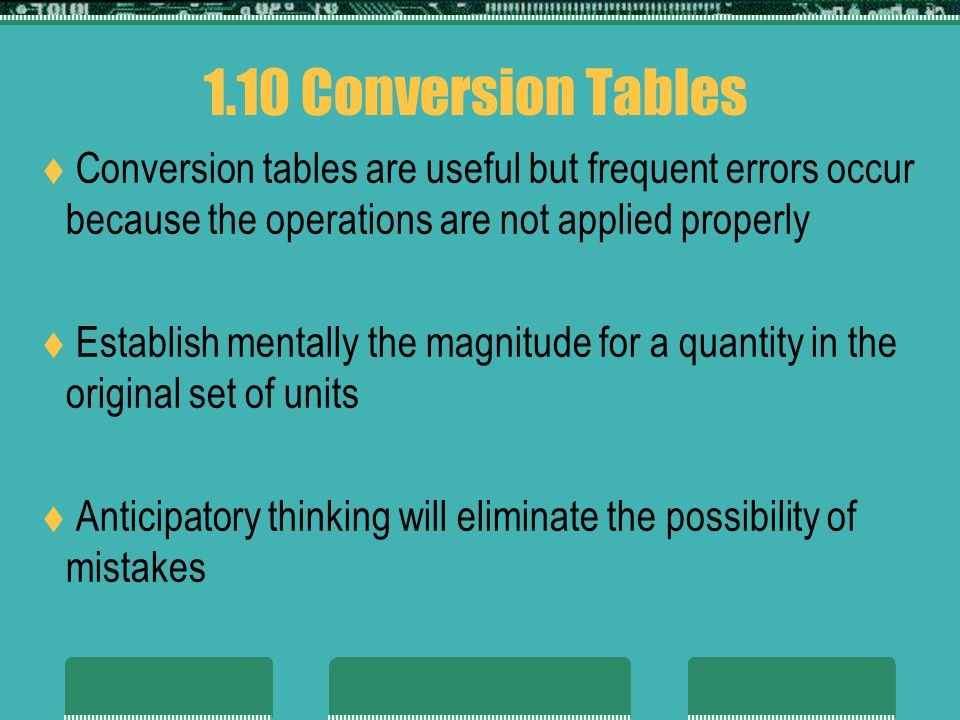 1.10 Conversion Tables Conversion tables are useful but frequent errors occur because the operations are not applied properly.