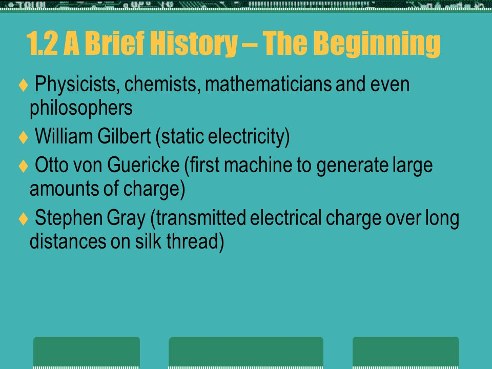 1.2 A Brief History – The Beginning