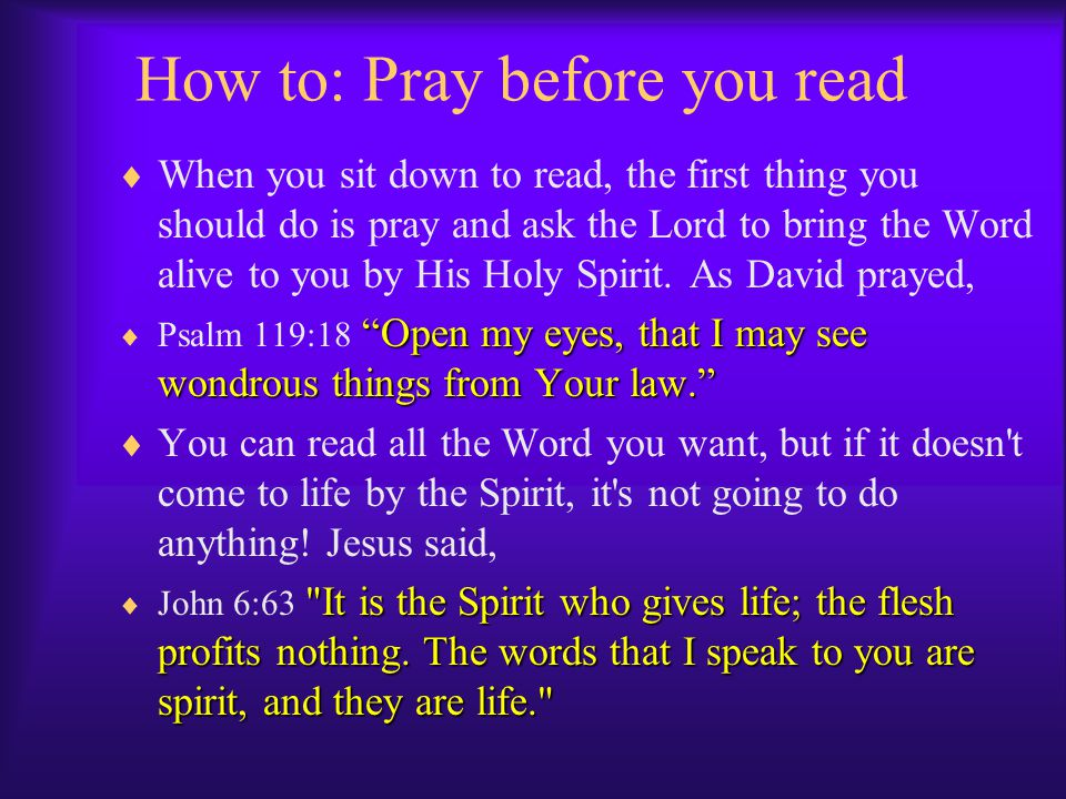 How to: Pray before you read