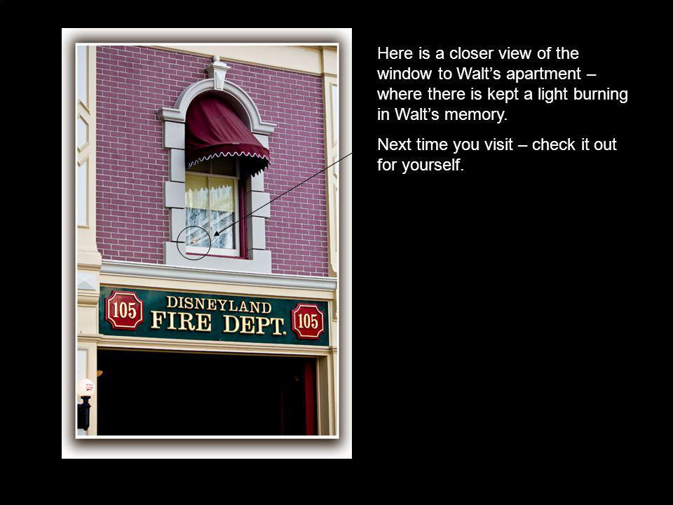 Here is a closer view of the window to Walt's apartment – where there is kept a light burning in Walt's memory.