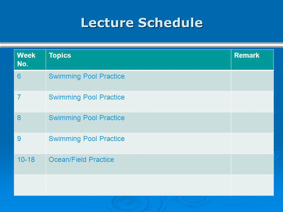 Lecture Schedule Week No. Topics Remark 6 Swimming Pool Practice 7 8 9