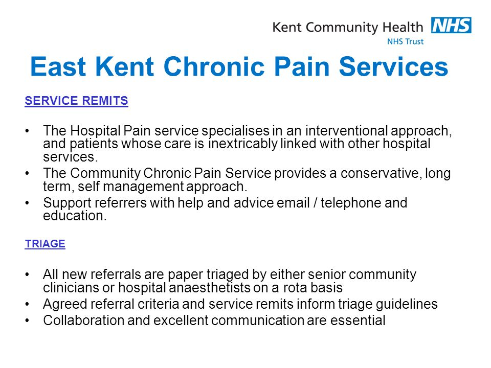 East Kent Chronic Pain Services