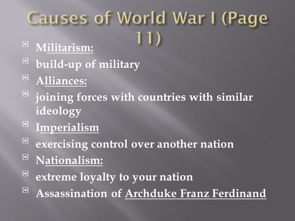 Causes of World War I (Page 11)