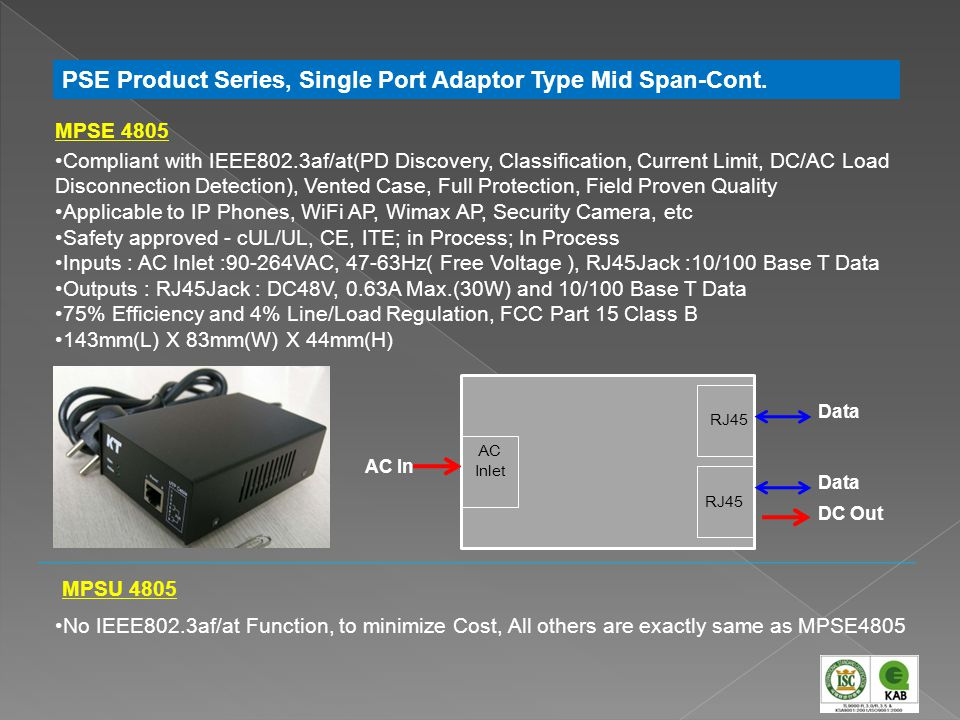 PSE Product Series, Single Port Adaptor Type Mid Span-Cont.
