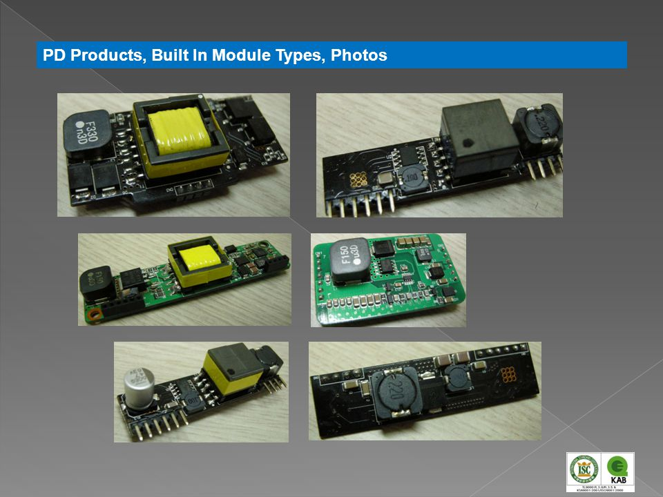 PD Products, Built In Module Types, Photos