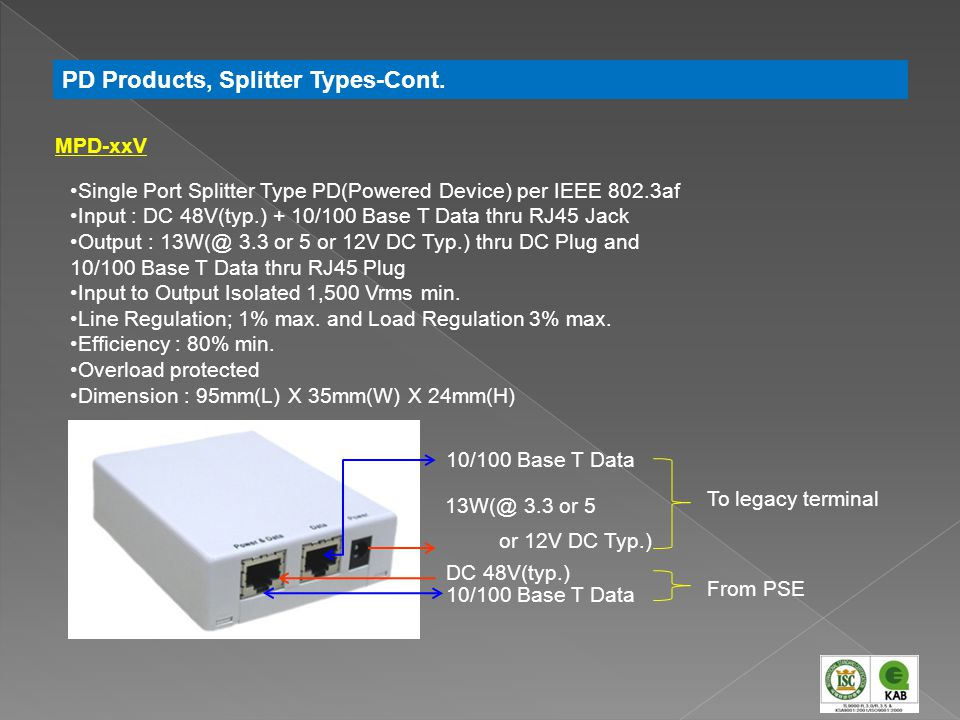 PD Products, Splitter Types-Cont.