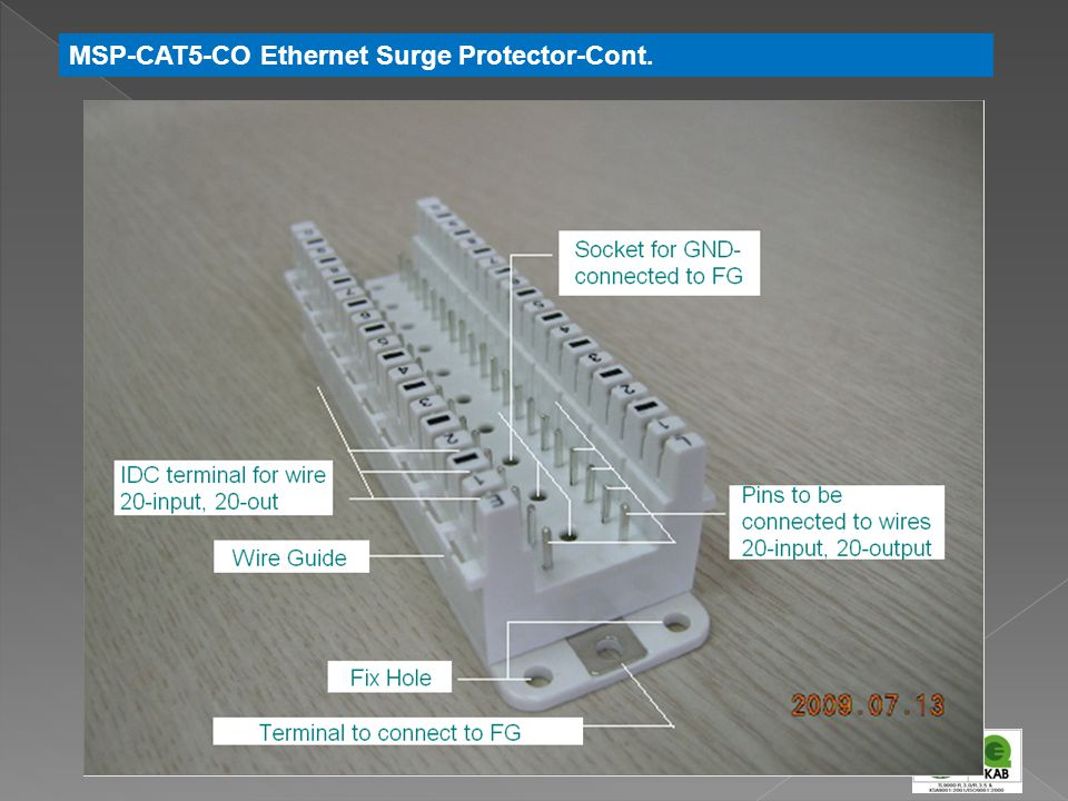 MSP-CAT5-CO Ethernet Surge Protector-Cont.