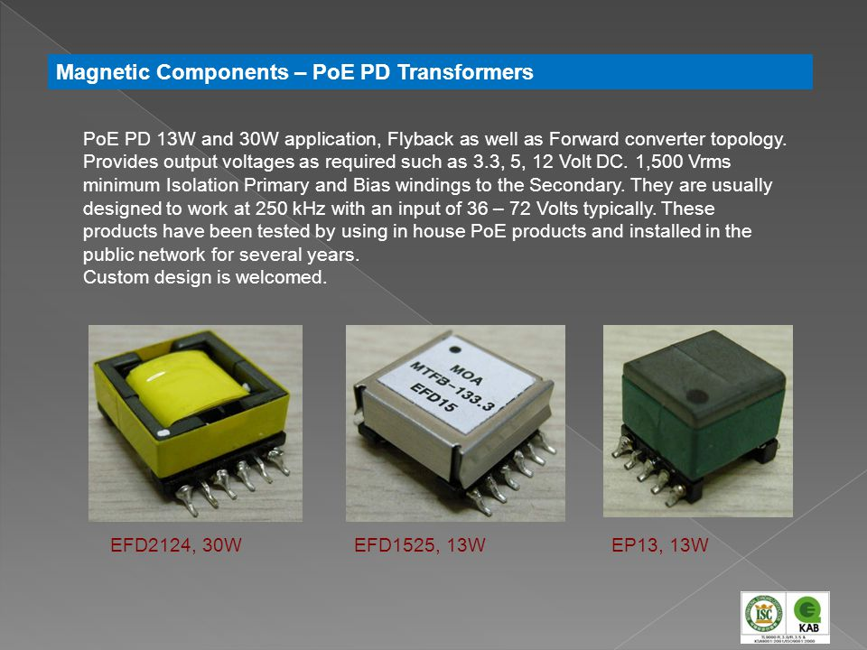 Magnetic Components – PoE PD Transformers