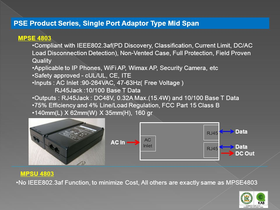PSE Product Series, Single Port Adaptor Type Mid Span