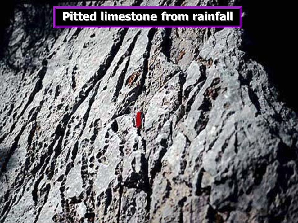 Pitted limestone from rainfall