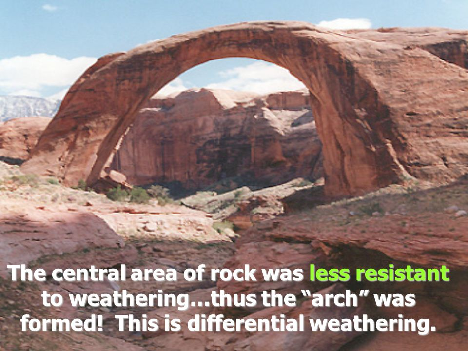 The central area of rock was less resistant to weathering…thus the arch was formed.