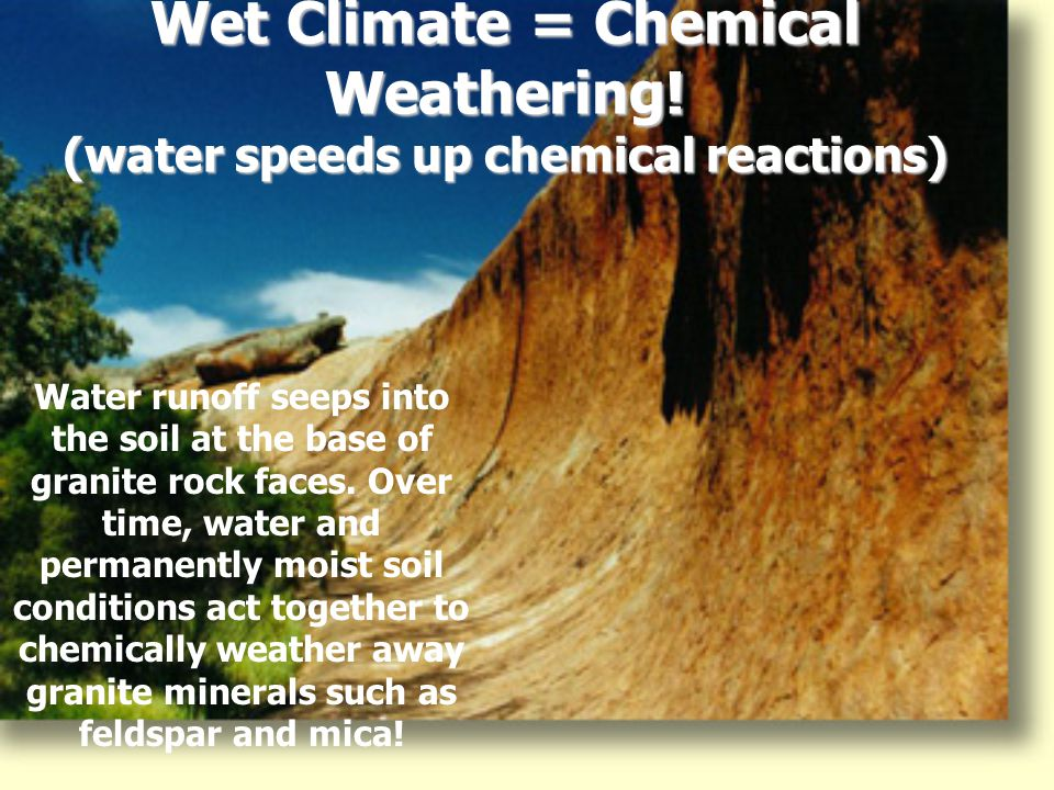 Wet Climate = Chemical Weathering! (water speeds up chemical reactions)
