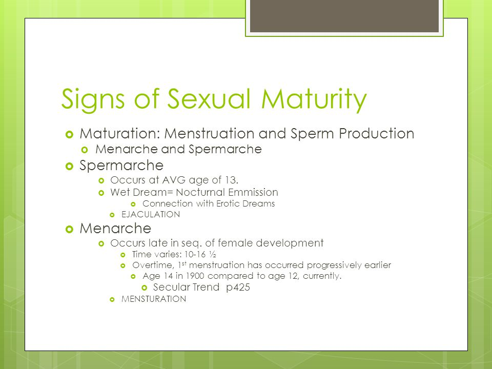 Signs of Sexual Maturity