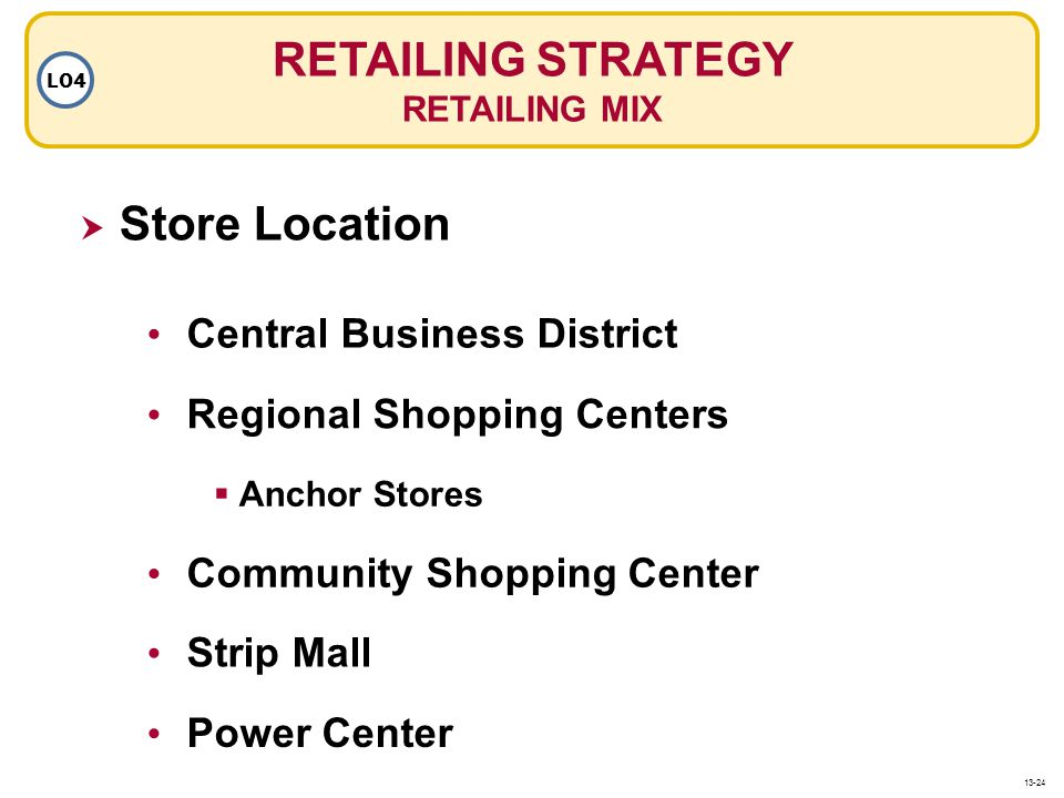 RETAILING STRATEGY Store Location Central Business District