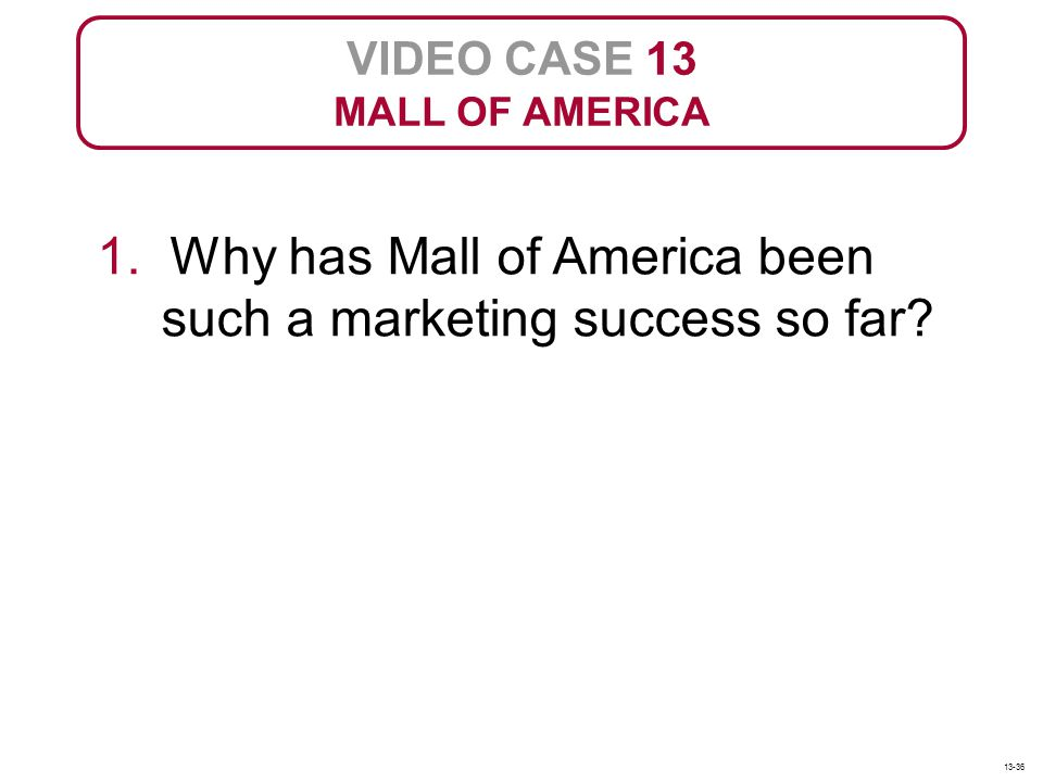 1. Why has Mall of America been such a marketing success so far