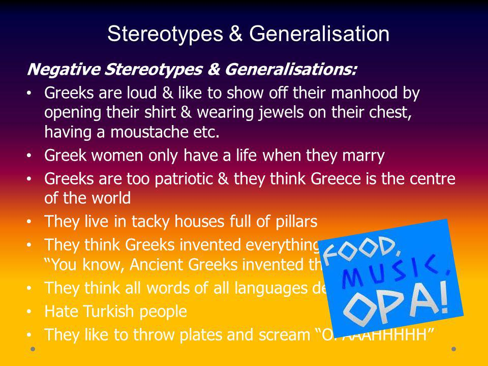 Stereotypes & Generalisation