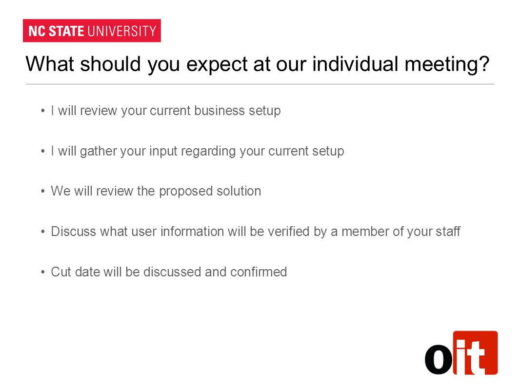 What should you expect at our individual meeting