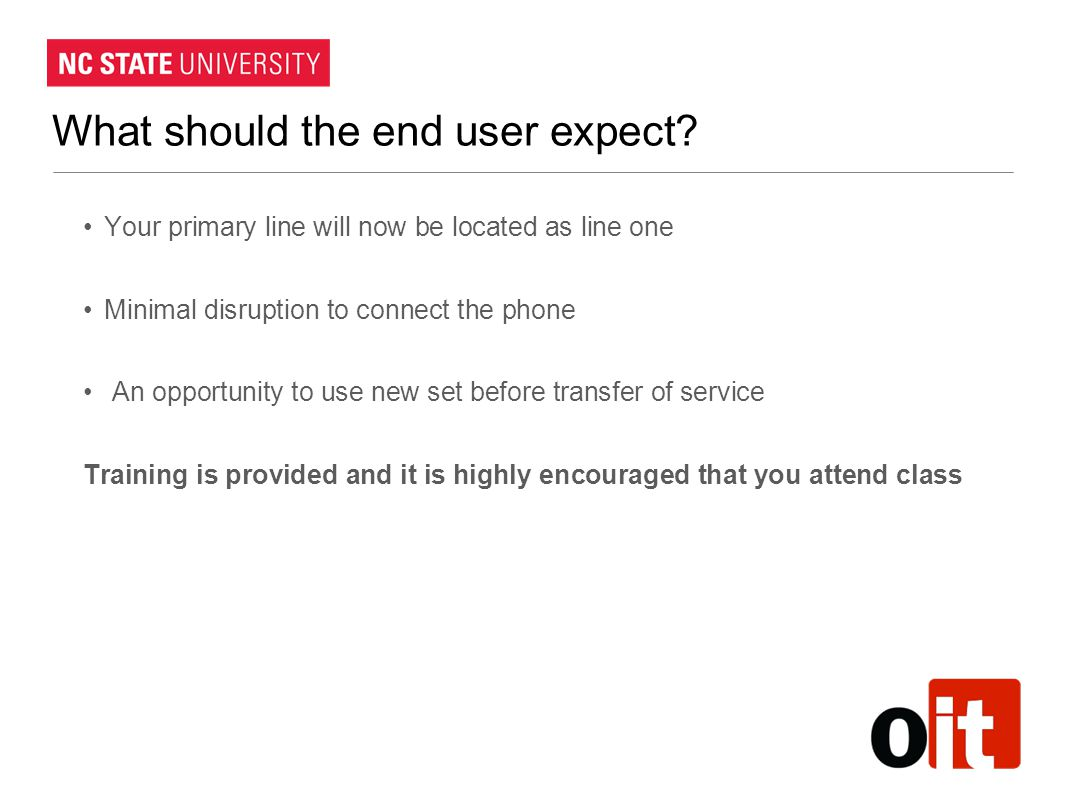 What should the end user expect