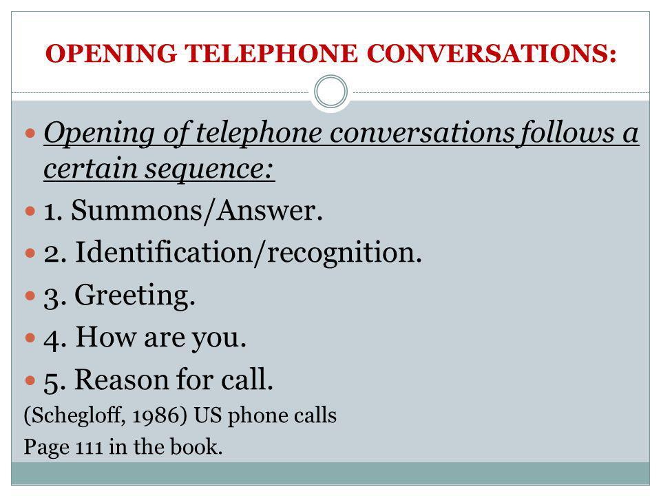 OPENING TELEPHONE CONVERSATIONS: