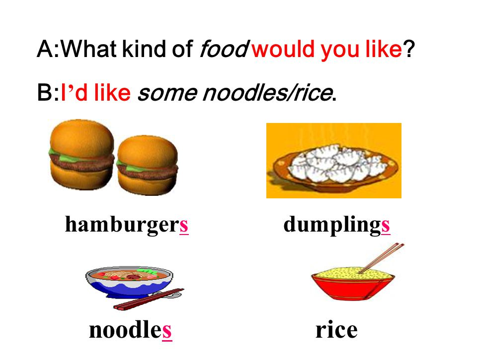 noodles rice A:What kind of food would you like