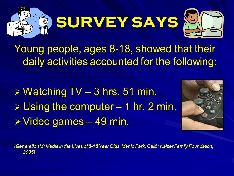 SURVEY SAYS Young people, ages 8-18, showed that their daily activities accounted for the following: