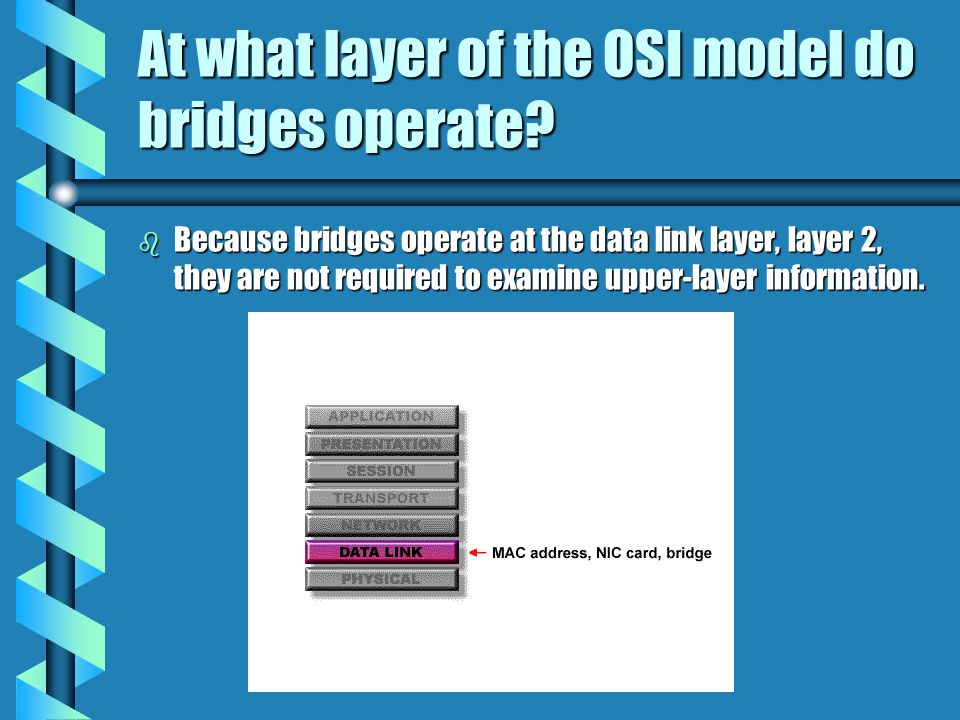 At what layer of the OSI model do bridges operate