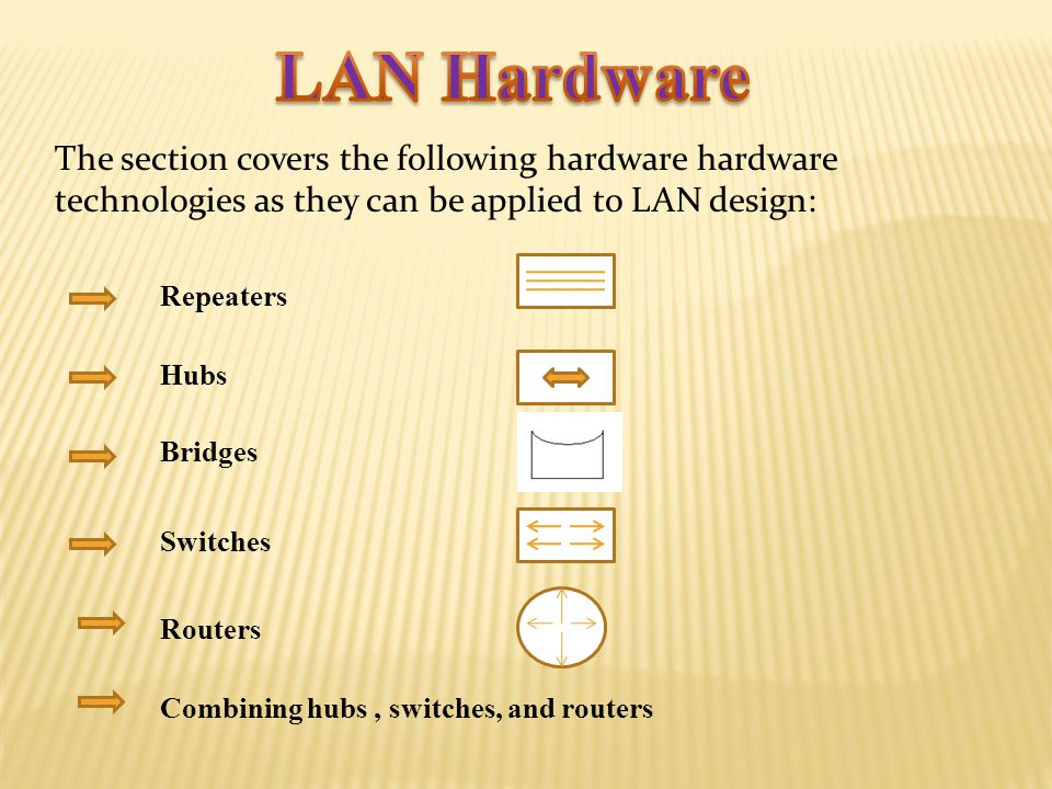 LAN Hardware The section covers the following hardware hardware technologies as they can be applied to LAN design: