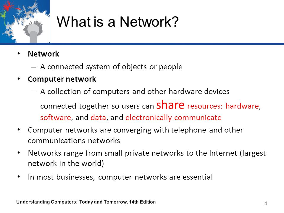 What is a Network Network A connected system of objects or people