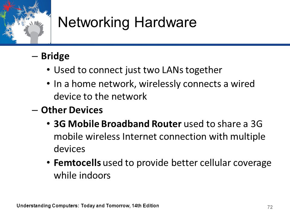 Networking Hardware Bridge Used to connect just two LANs together