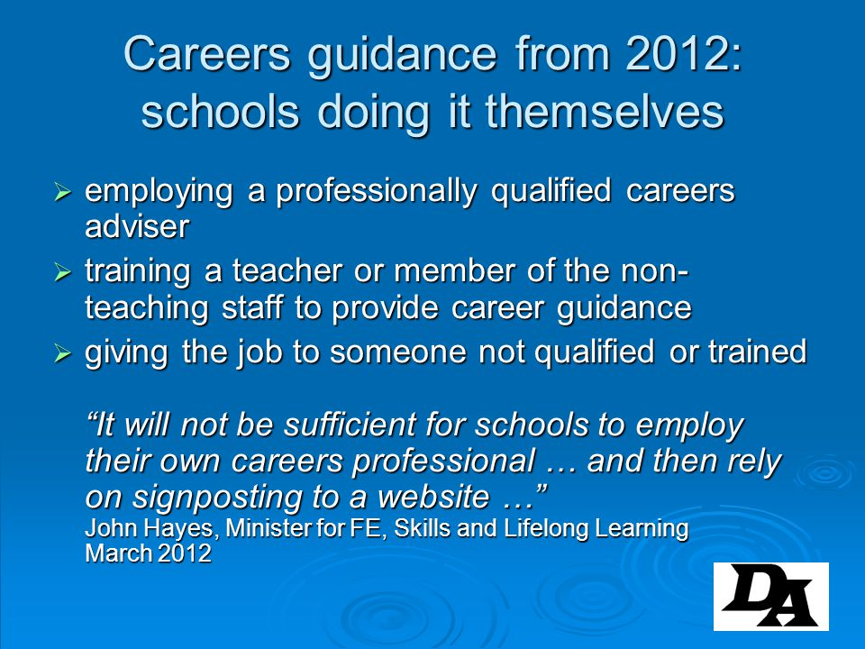 Careers guidance from 2012: schools doing it themselves