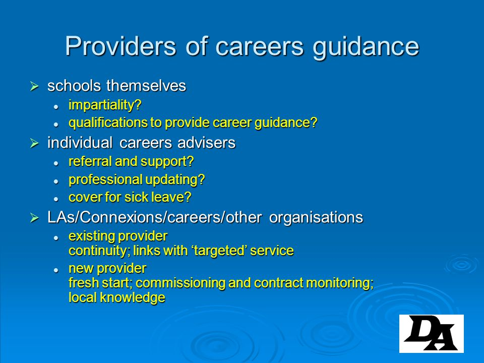 Providers of careers guidance