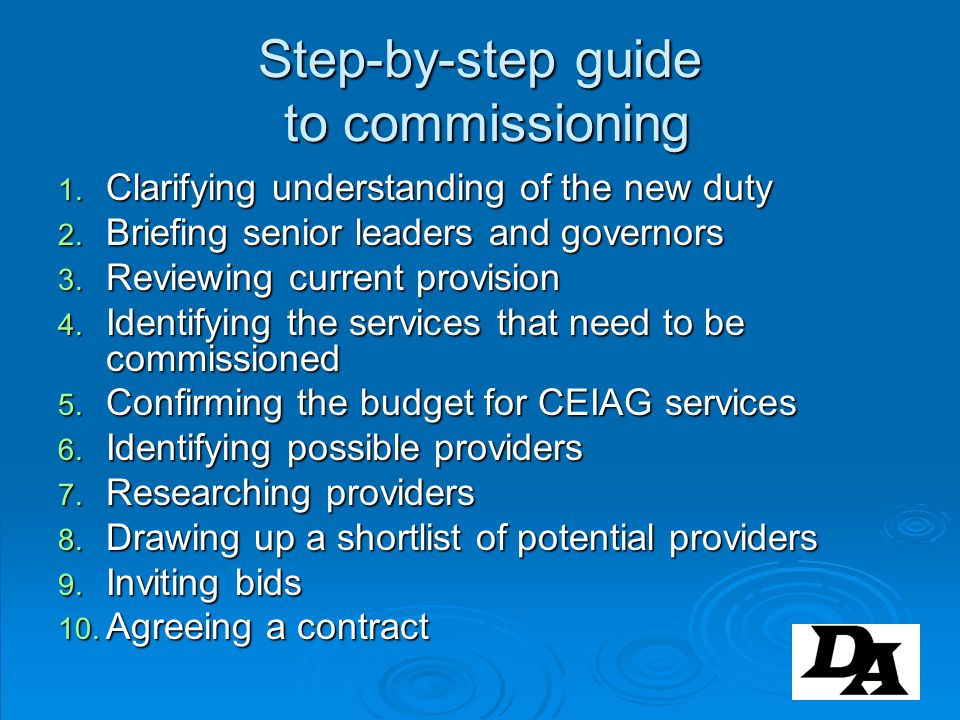 Step-by-step guide to commissioning