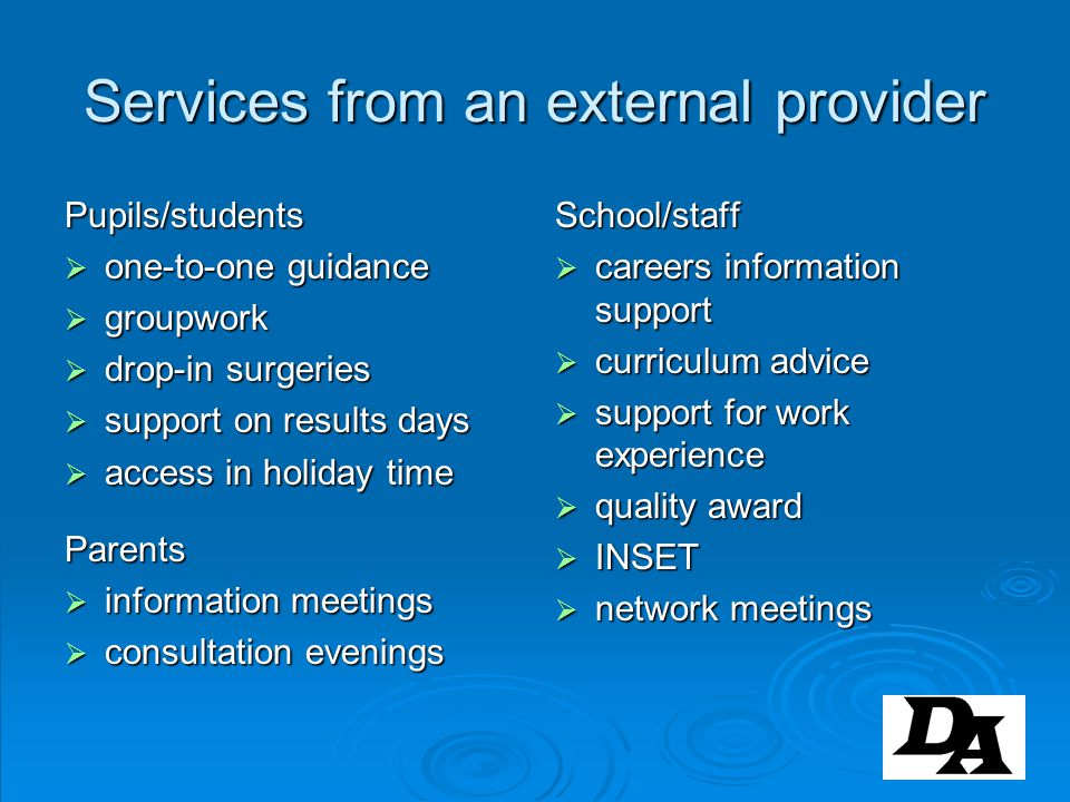Services from an external provider
