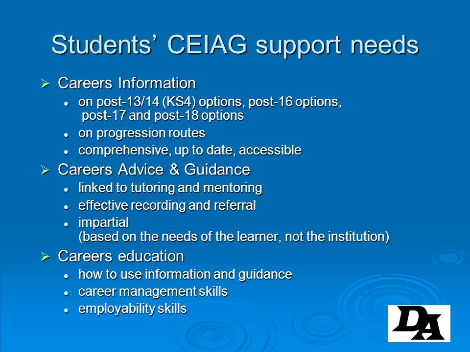 Students' CEIAG support needs