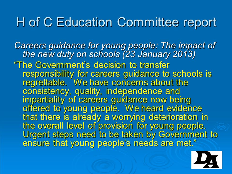 H of C Education Committee report