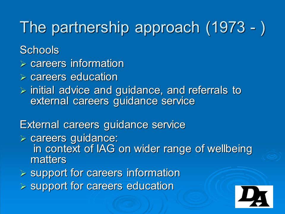 The partnership approach (1973 - )