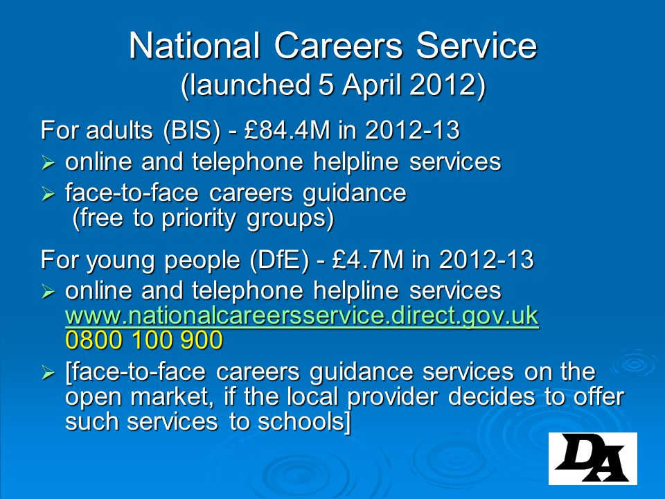 National Careers Service (launched 5 April 2012)